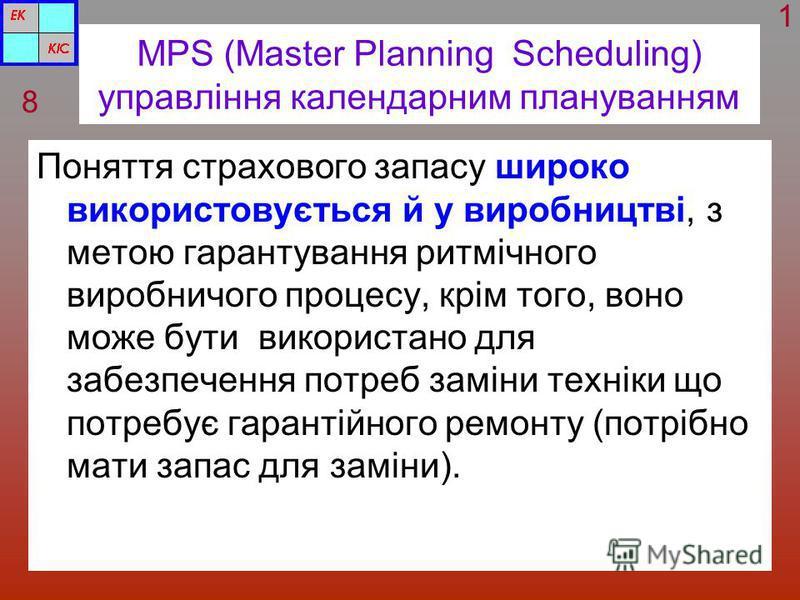 MPS (Master Planning Scheduling) управління календарним плануванням Поняття страхового запасу широко використовується й у виробництві, з метою гарантування ритмічного виробничого процесу, крім того, воно може бути використано для забезпечення потреб