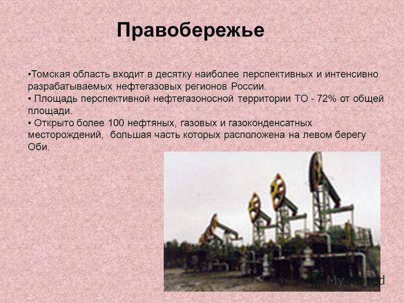 Томская область входит в десятку наиболее перспективных и интенсивно разрабатываемых нефтегазовых регионов России. Площадь перспективной нефтегазоносной территории ТО - 72% от общей площади. Открыто более 100 нефтяных, газовых и газоконденсатных мест