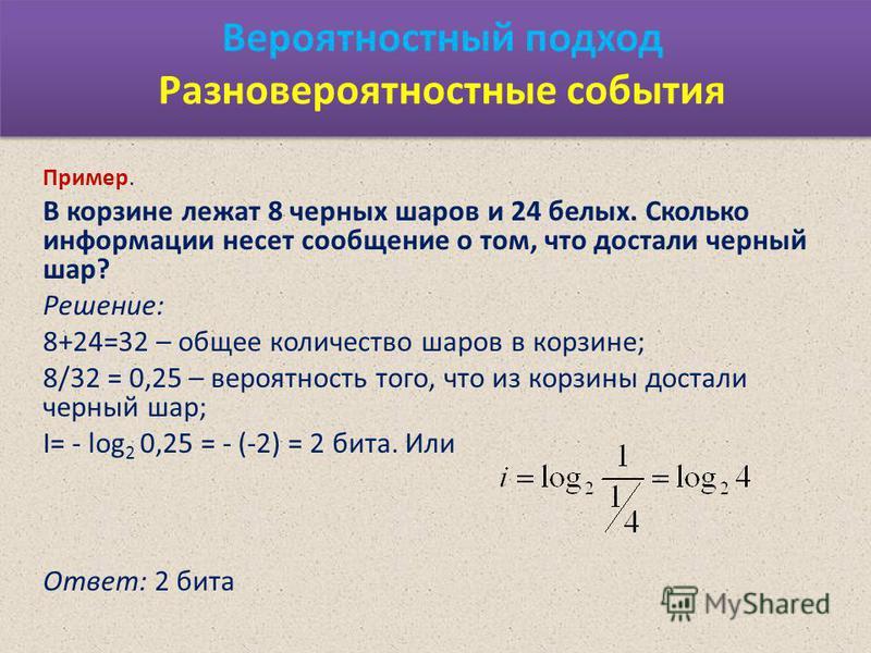 Вероятностный подход Разновероятностные события Пример. В корзине лежат 8 черных шаров и 24 белых. Сколько информации несет сообщение о том, что достали черный шар? Решение: 8+24=32 – общее количество шаров в корзине; 8/32 = 0,25 – вероятность того,