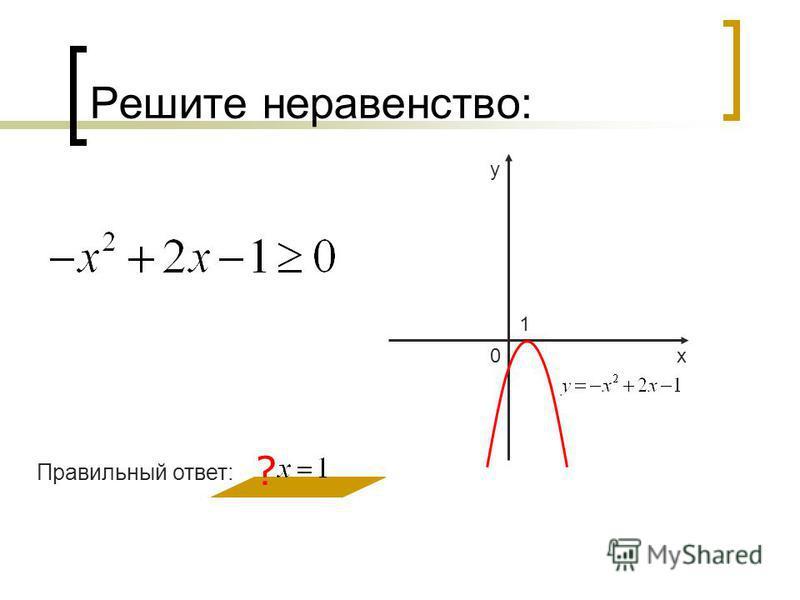 Решите неравенство: ? 0 у х 1 Правильный ответ: