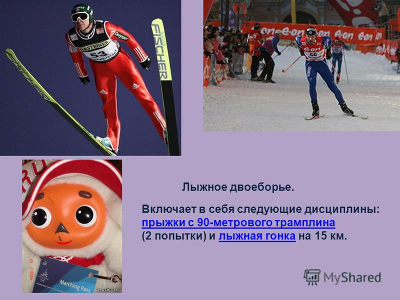 Лыжное двоеборье. Включает в себя следующие дисциплины: прыжки с 90-метрового трамплина (2 попытки) и лыжная гонка на 15 км.лыжная гонка