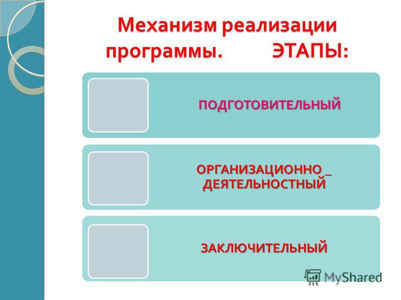 Механизм реализации программы. ЭТАПЫ : ПОДГОТОВИТЕЛЬНЫЙ ПОДГОТОВИТЕЛЬНЫЙ ОРГАНИЗАЦИОННО _ ДЕЯТЕЛЬНОСТНЫЙ ЗАКЛЮЧИТЕЛЬНЫЙ
