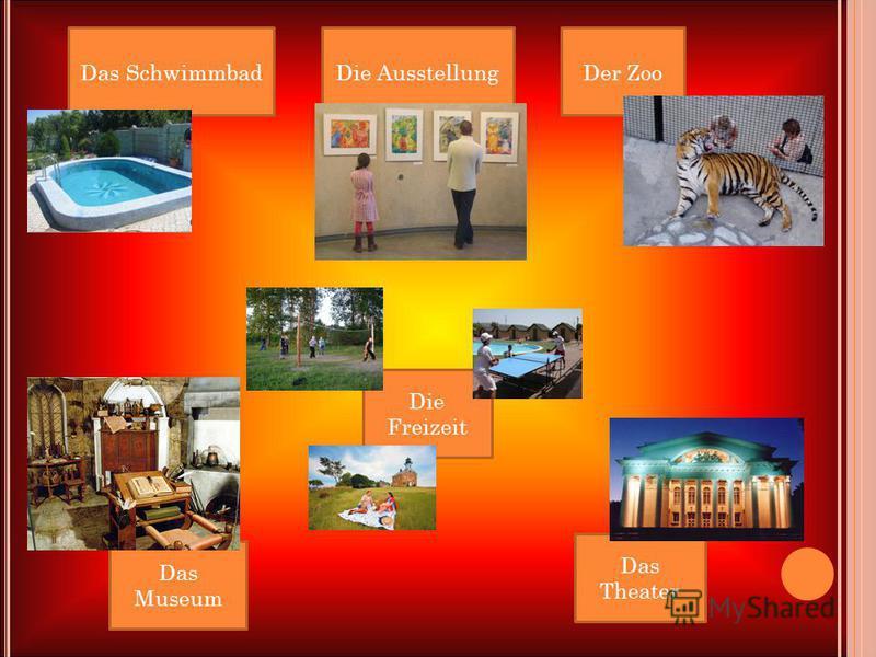 Das SchwimmbadDie AusstellungDer Zoo Das Theater Die Freizeit Das Museum