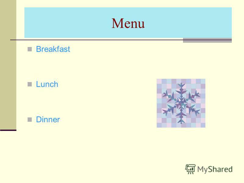 Menu Breakfast Lunch Dinner