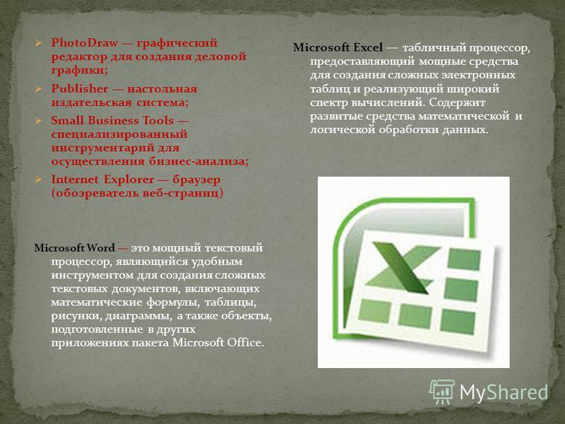 PhotoDraw графический редактор для создания деловой графики; Publisher настольная издательская система; Small Business Tools специализированный инструментарий для осуществления бизнес-анализа; Internet Explorer браузер (обозреватель веб-страниц) Micr
