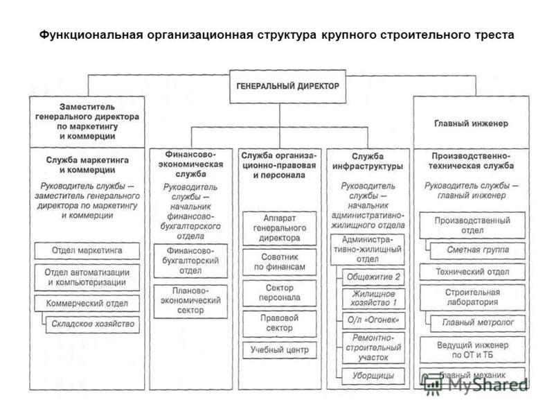 Функциональная организационная структура крупного строительного треста
