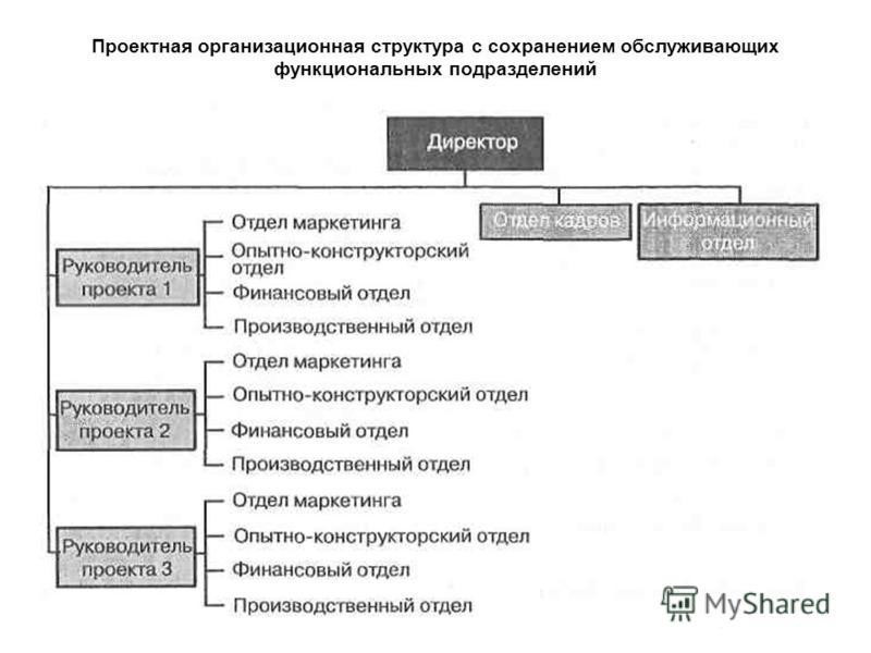 Проектная организационная структура с сохранением обслуживающих функциональных подразделений
