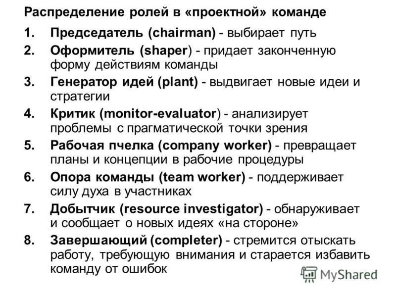 Распределение ролей в «проектной» команде 1. Председатель (chairman) - выбирает путь 2. Оформитель (shaper) - придает законченную форму действиям команды 3. Генератор идей (plant) - выдвигает новые идеи и стратегии 4. Критик (monitor-evaluator) - ана