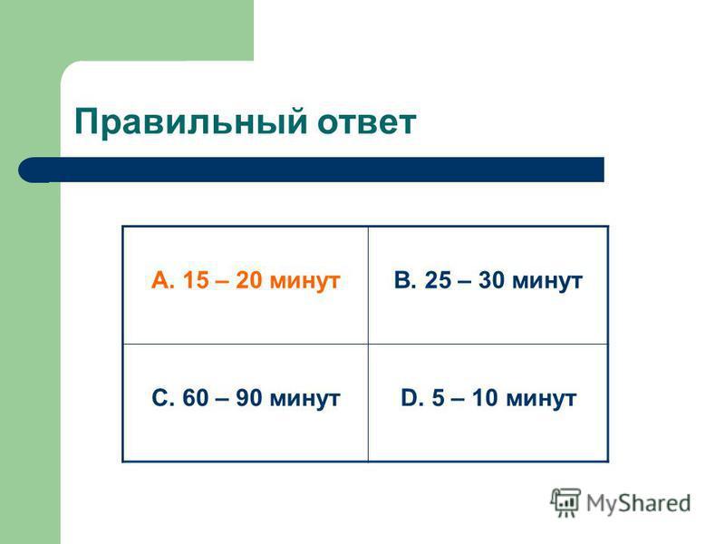 Правильный ответ А. 15 – 20 минутВ. 25 – 30 минут С. 60 – 90 минутD. 5 – 10 минут