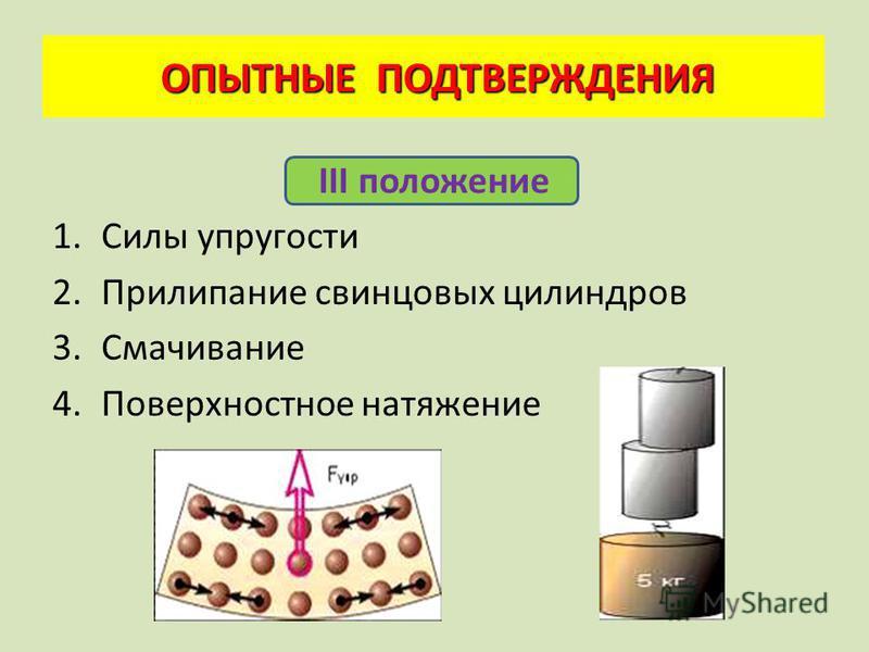 II положение 1. Диффузия – перемешивание молекул разных веществ 2. Броуновское движение – движение взвешенных в жидкости частиц ОПЫТНЫЕ ПОДТВЕРЖДЕНИЯ ОПЫТНЫЕ ПОДТВЕРЖДЕНИЯ