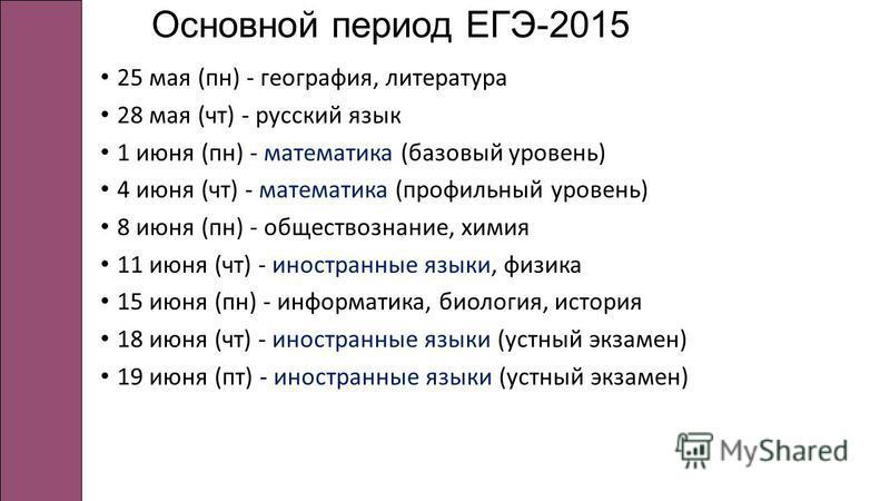 Основной период ЕГЭ-2015 25 мая (пн) - география, литература 28 мая (чт) - русский язык 1 июня (пн) - математика (базовый уровень) 4 июня (чт) - математика (профильный уровень) 8 июня (пн) - обществознание, химия 11 июня (чт) - иностранные языки, физ