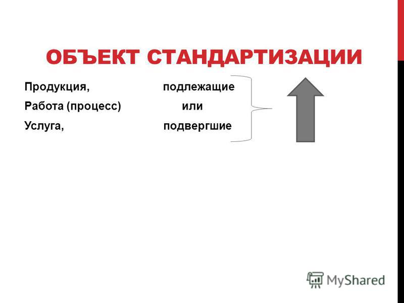 ОБЪЕКТ СТАНДАРТИЗАЦИИ Продукция, подлежащие Работа (процесс) или Услуга, подвергшие
