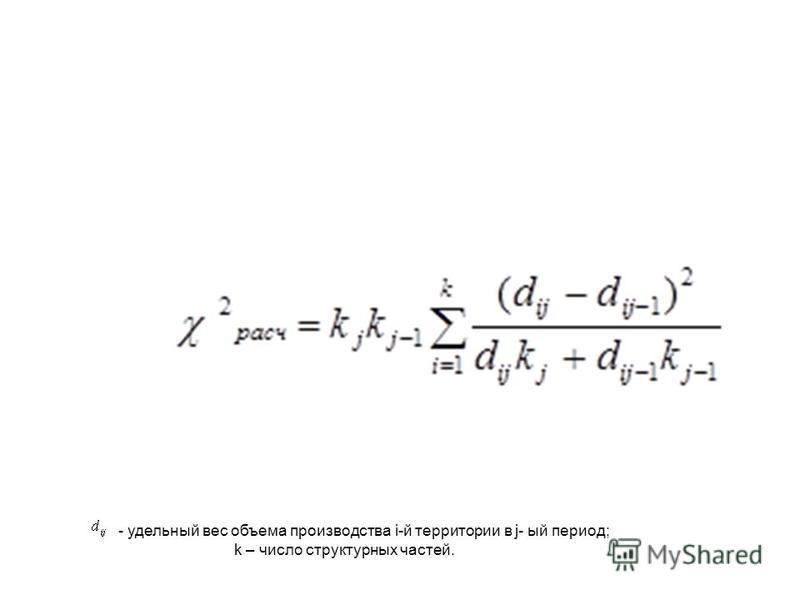 - удельный вес объема производства i-й территории в j- ый период; k – число структурных частей.