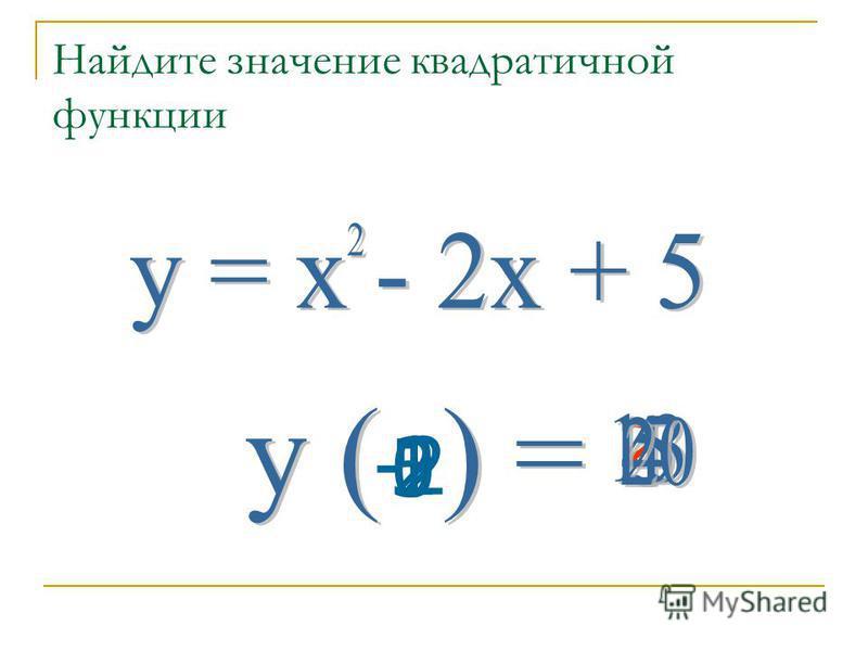 Определение квадратичной функции Задания для устного счета Упражнение 5 9 класс