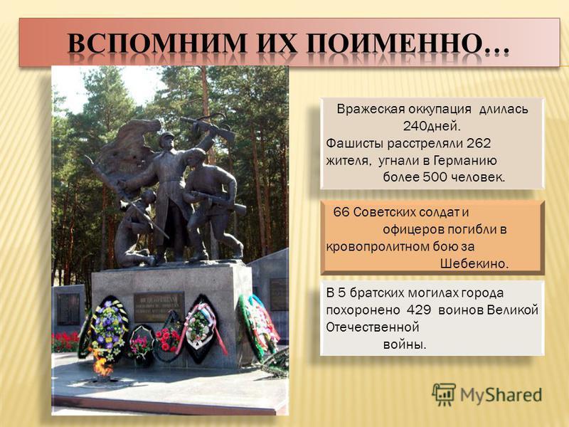 Вражеская оккупация длилась 240 дней. Фашисты расстреляли 262 жителя, угнали в Германию более 500 человек. Вражеская оккупация длилась 240 дней. Фашисты расстреляли 262 жителя, угнали в Германию более 500 человек. 66 Советских солдат и офицеров погиб