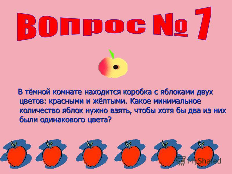 В тёмной комнате находится коробка с яблоками двух цветов: красными и жёлтыми. Какое минимальное количество яблок нужно взять, чтобы хотя бы два из них были одинакового цвета? В тёмной комнате находится коробка с яблоками двух цветов: красными и жёлт