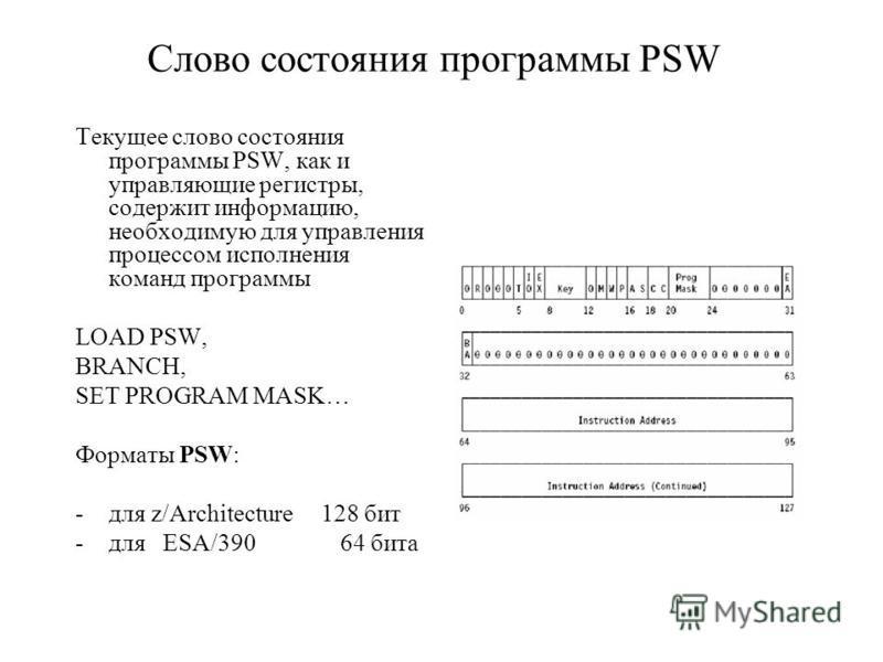Слово состояния программы PSW Текущее слово состояния программы PSW, как и управляющие регистры, содержит информацию, необходимую для управления процессом исполнения команд программы LOAD PSW, BRANCH, SET PROGRAM MASK… Форматы PSW: -для z/Architectur