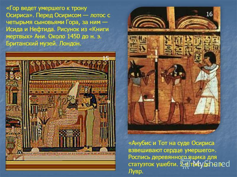 «Гор ведет умершего к трону Осириса». Перед Осирисом лотос с четырьмя сыновьями Гора, за ним Исида и Нефтида. Рисунок из «Книги мертвых» Ани. Около 1450 до н. э. Британский музей. Лондон. 15 «Анубис и Тот на суде Осириса взвешивают сердце умершего».