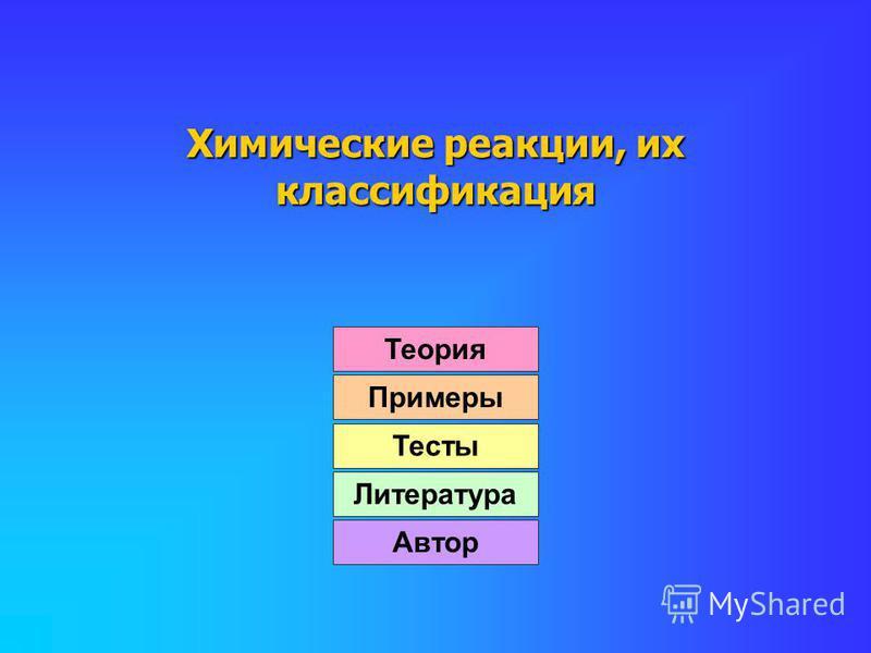 Химические реакции, их классификация Теория Примеры Тесты Литература Автор