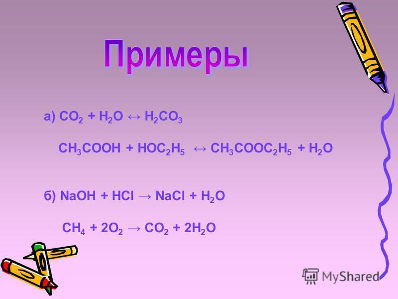 a) CO 2 + H 2 O H 2 CO 3 CH 3 COOH + HOC 2 H 5 CH 3 COOC 2 H 5 + H 2 O б) NaOH + HCl NaCl + H 2 O CH 4 + 2O 2 CO 2 + 2H 2 O