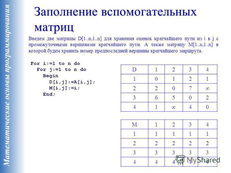 Заполнение вспомогательных матриц Введем две матрицы D[1..n,1..n] для хранения оценок кратчайшего пути из i в j с промежуточными вершинами кратчайшего пути. А также матрицу M[1..n,1..n] в которой будем хранить номер предпоследней вершины кратчайшего