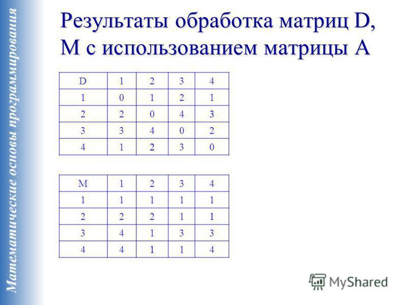 Результаты обработка матриц D, M с использованием матрицы A D1234 10121 22043 33402 41230 M1234 11111 22211 34133 44114