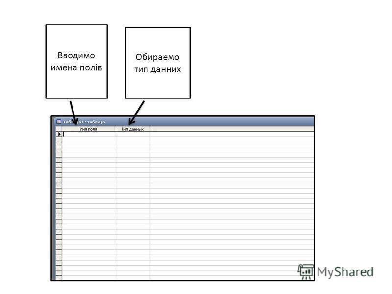 Вводимо имена полів Обираемо тип данних