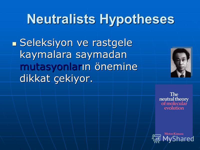 Neutralists Hypotheses Seleksiyon ve rastgele kaymalara saymadan mutasyonların önemine dikkat çekiyor. Seleksiyon ve rastgele kaymalara saymadan mutasyonların önemine dikkat çekiyor.