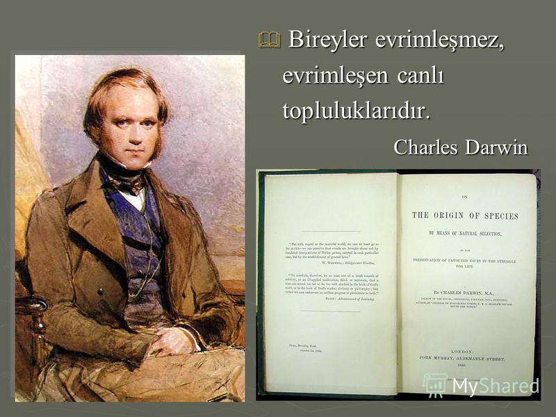 Bireyler evrimleşmez, Bireyler evrimleşmez, evrimleşen canlı evrimleşen canlı topluluklarıdır. topluluklarıdır. Charles Darwin Charles Darwin