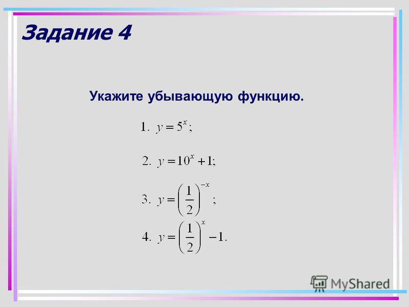 Задание 4 Укажите убывающую функцию.