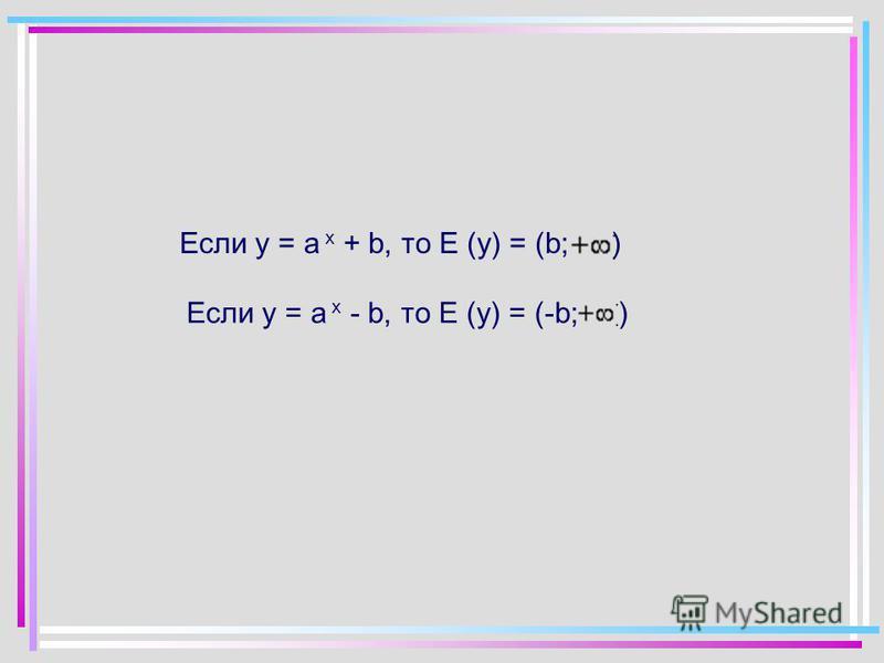 Если у = а x + b, то Е (у) = (b;) Если у = а x - b, то Е (у) = (-b;)