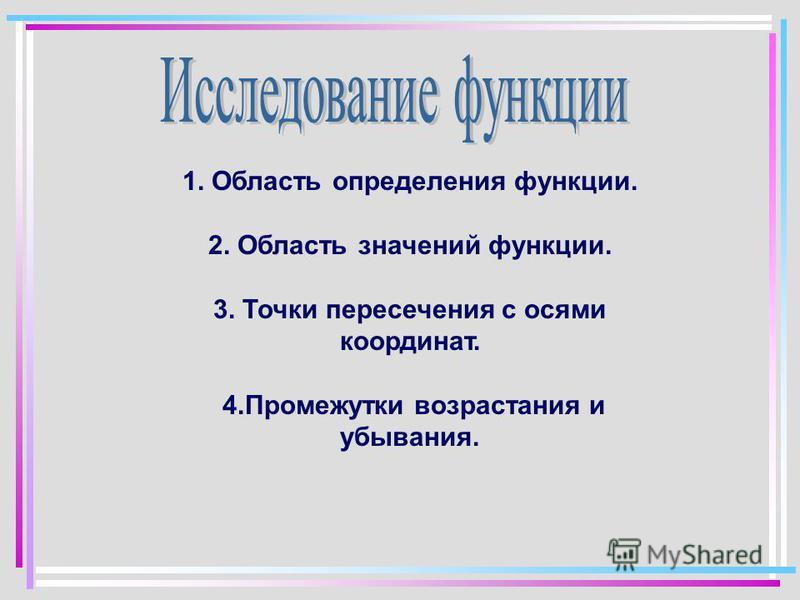 1. Область определения функции. 2. Область значений функции. 3. Точки пересечения с осями координат. 4. Промежутки возрастания и убывания.