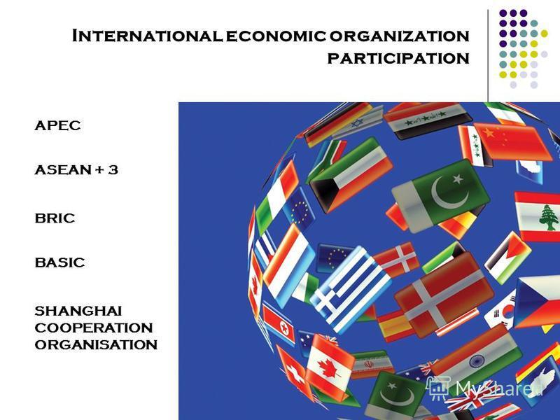 International economic organization participation ASEAN + 3 BRIC BASIC SHANGHAI COOPERATION ORGANISATION APEC