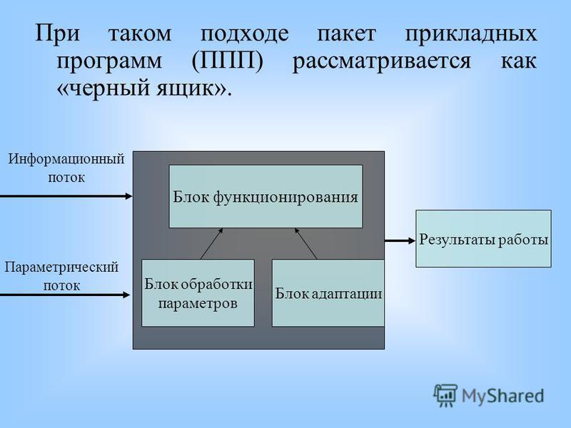 При таком подходе пакет прикладных программ (ППП) рассматривается как «черный ящик». Блок функционирования Блок обработки параметров Блок адаптации Информационный поток Параметрический поток Результаты работы