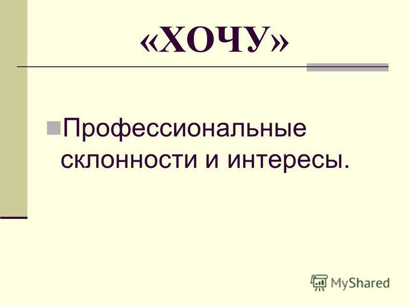 «ХОЧУ» Профессиональные склонности и интересы.