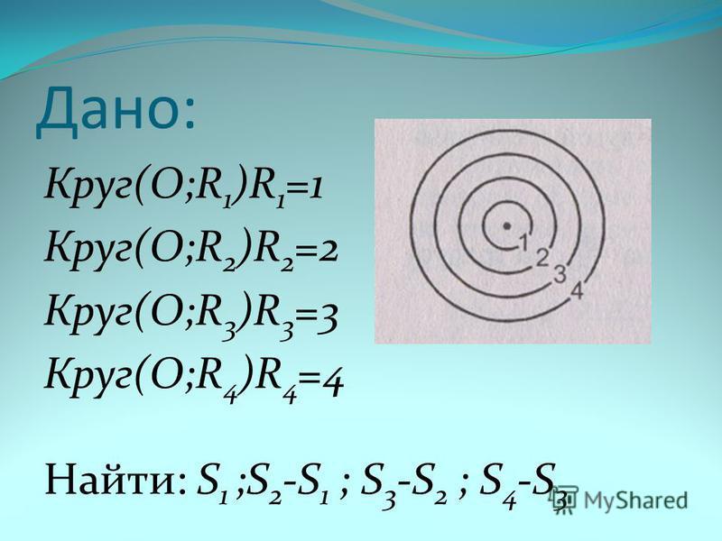 Дано: Круг(О;R 1 )R 1 =1 Круг(О;R 2 )R 2 =2 Круг(О;R 3 )R 3 =3 Круг(О;R 4 )R 4 =4 Найти: S 1 ;S 2 -S 1 ; S 3 -S 2 ; S 4 -S 3