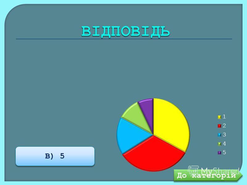 В) 5 До категорій