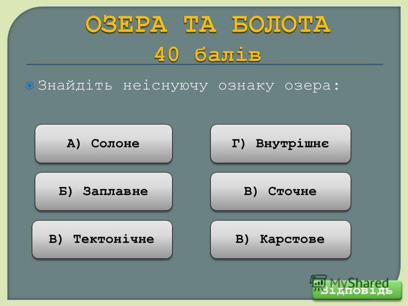 Знайдіть неіснуючу ознаку озера: Відповідь В) Тектонічне Б) Заплавне А) Солоне В) Карстове В) Сточне Г) Внутрішнє