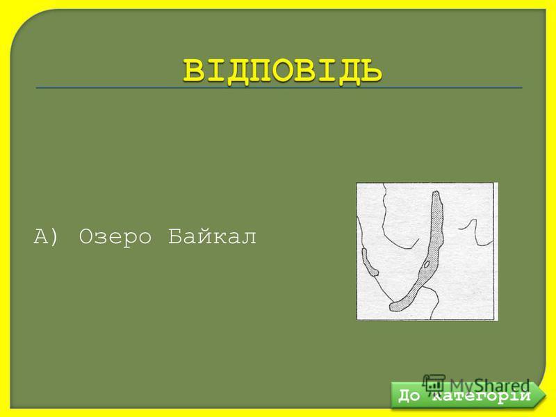 А) Озеро Байкал До категорій