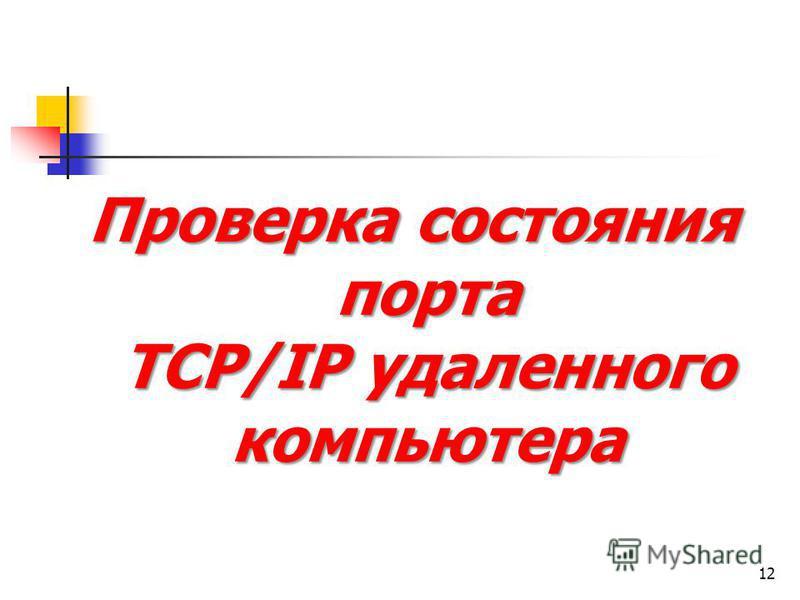 Проверка состояния порта TCP/IP удаленного компьютера 12