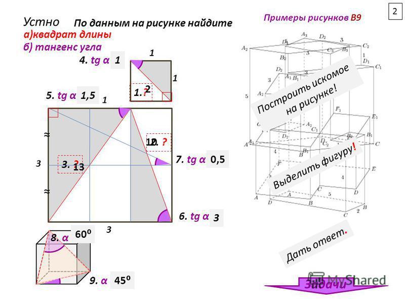 3 3 1 1 4. tg α -? 1.? 5. tg α-? 2. ? 3. ? 6. tg α-? 1 а)квадрат длины б) тангенс угла Устно По данным на рисунке найдите 2 10 13 1 1,5 3 7. tg α -?0,5 Примеры рисунков В9 Задачи 2 Построить искомое на рисунке! Выделить фигуру! Дать ответ. 8. α -? 60
