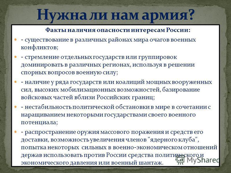 Факты наличия опасности интересам России: - существование в различных районах мира очагов военных конфликтов; - стремление отдельных государств или группировок доминировать в различных регионах, используя в решении спорных вопросов военную силу; - на