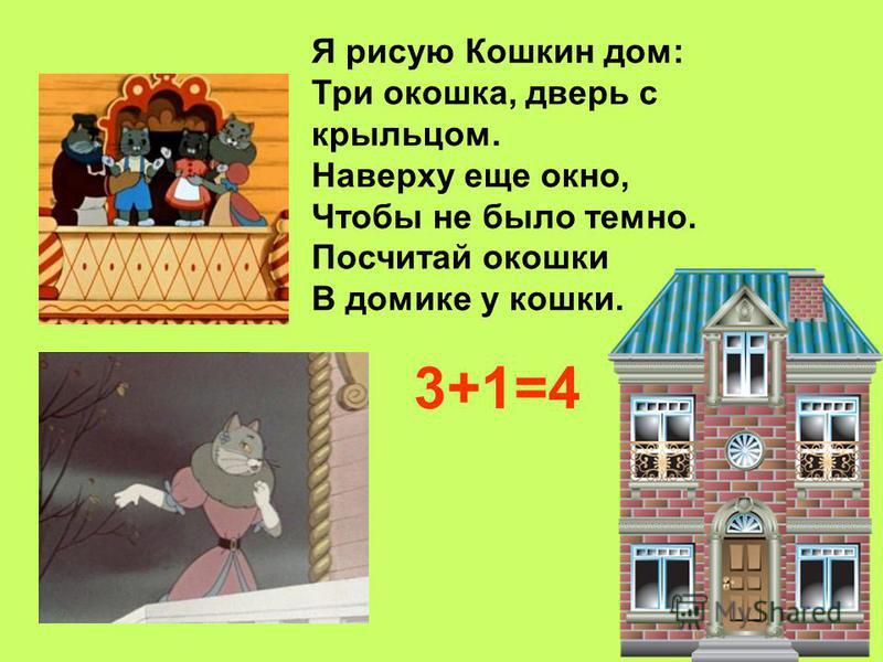 Я рисую Кошкин дом: Три окошка, дверь с крыльцом. Наверху еще окно, Чтобы не было темно. Посчитай окошки В домике у кошки. 3+1=4