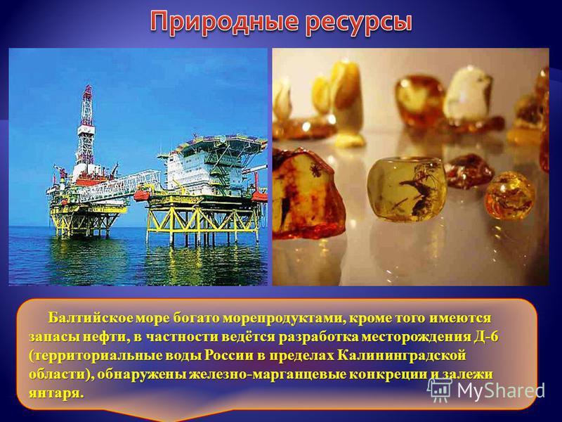 Балтийское море богато морепродуктами, кроме того имеются запасы нефти, в частности ведётся разработка месторождения Д-6 (территориальные воды России в пределах Калининградской области), обнаружены железно-марганцевые конкреции и залежи янтаря. Балти