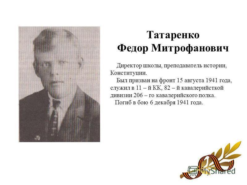 Татаренко Федор Митрофанович Директор школы, преподаватель истории, Конституции. Был призван на фронт 15 августа 1941 года, служил в 11 – й КК, 82 – й кавалерийсткой дивизии 206 – го кавалерийского полка. Погиб в бою 6 декабря 1941 года.