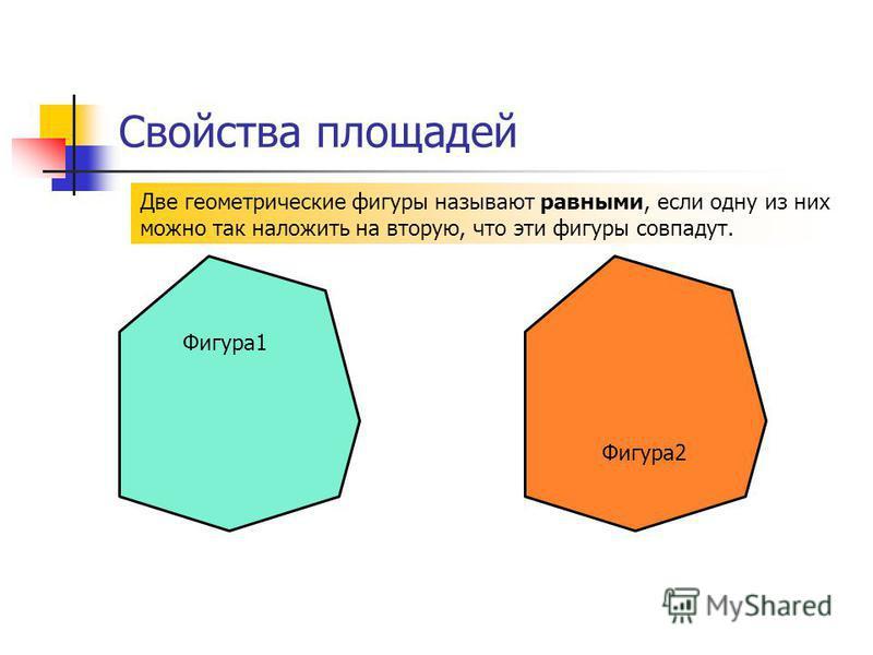 Свойства площадей Две геометрические фигуры называют равными, если одну из них можно так наложить на вторую, что эти фигуры совпадут. Фигура 2 Фигура 1