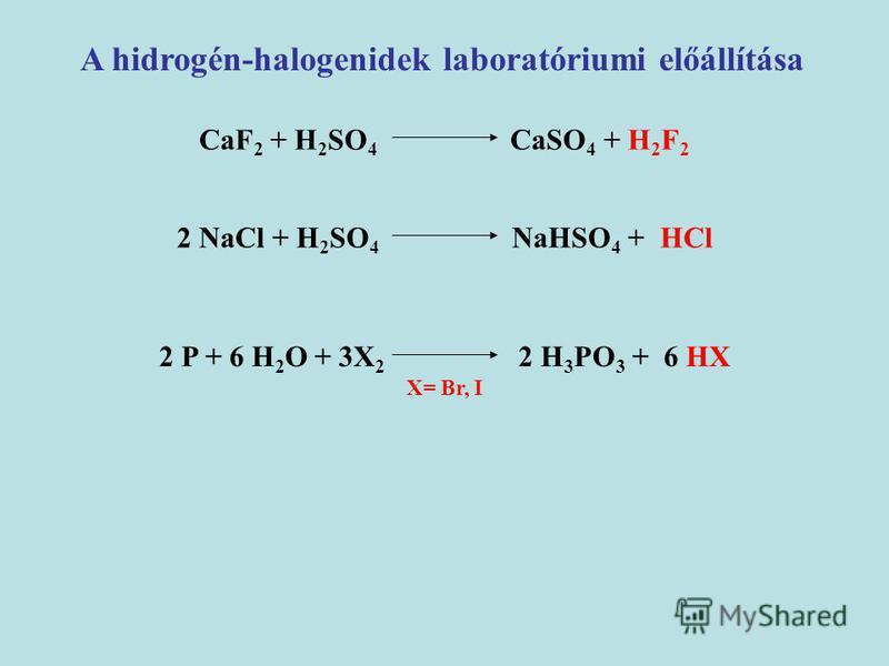 A hidrogén-halogenidek laboratóriumi előállítása CaF 2 + H 2 SO 4 CaSO 4 + H 2 F 2 2 NaCl + H 2 SO 4 NaHSO 4 + HCl 2 P + 6 H 2 O + 3X 2 2 H 3 PO 3 + 6 HX X= Br, I