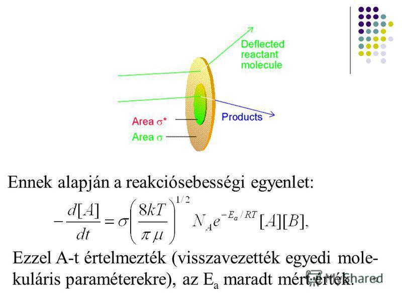 12 Ennek alapján a reakciósebességi egyenlet: Ezzel A-t értelmezték (visszavezették egyedi mole- kuláris paraméterekre), az E a maradt mért érték.
