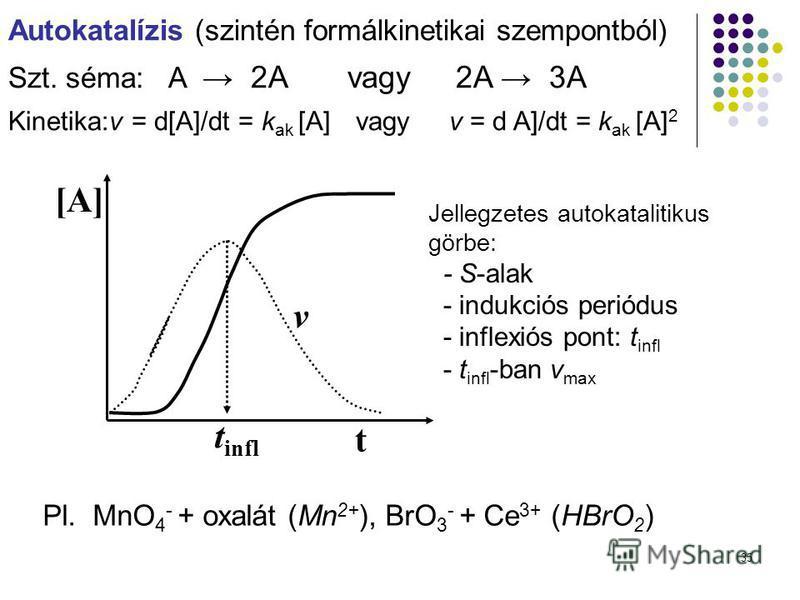 35 Autokatalízis (szintén formálkinetikai szempontból) Szt. séma:A 2A vagy 2A 3A Kinetika:v = d[A]/dt = k ak [A] vagy v = d A]/dt = k ak [A] 2 t [A] Pl. MnO 4 - + oxalát (Mn 2+ ), BrO 3 - + Ce 3+ (HBrO 2 ) Jellegzetes autokatalitikus görbe: - S-alak