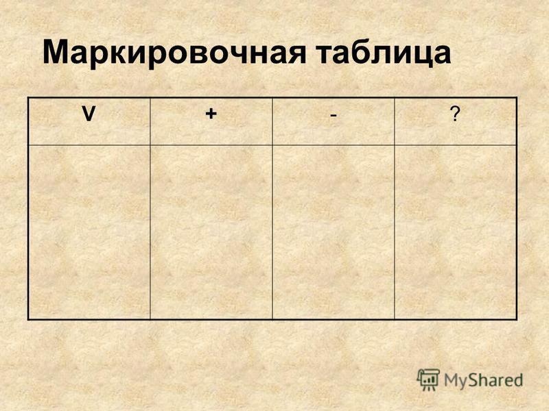 V+-? Маркировочная таблица